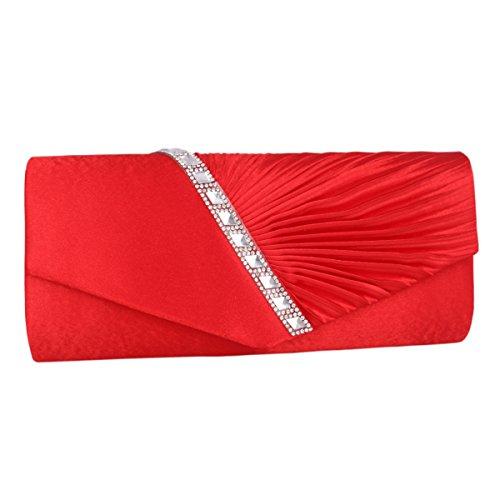 Adoptfade Bolso para Mujer de Satén Elegante Precioso para Fiesta Azul marino Rojo