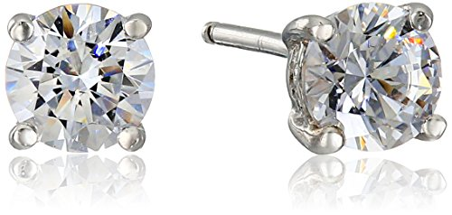 Platinum Plated Sterling Silver Stud Earrings set with Round...
