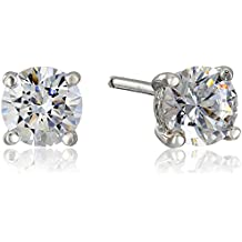 Plated Sterling Silver Round-Cut Stud Earrings made with Swarovski Zirconia