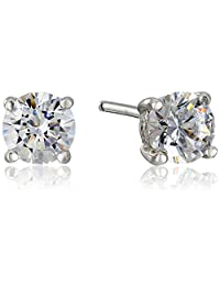 Platinum or Gold Plated Sterling Silver Swarovski Zirconia (1cttw) Round Stud Earrings