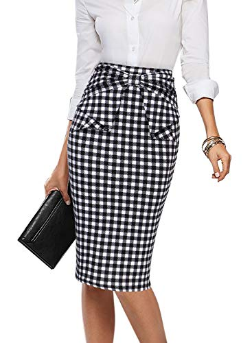 VFSHOW Womens Black and White Plaid Pleated Bow High Waist Slim Work Office Business Pencil Skirt 2395 TAT 3XL