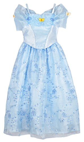 [2015 NEW dress blue princess dress Costume for girls] (Cinderella Dress Up)