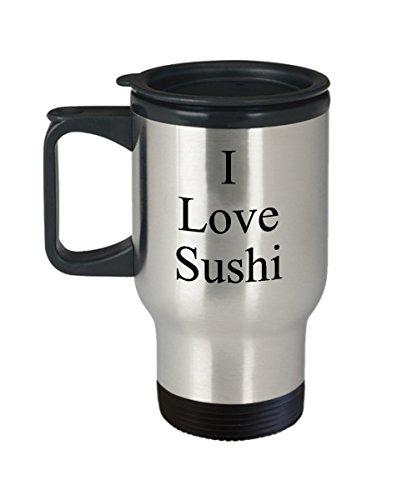 I Love Sushi mug, Travel mug, Coffee cup, Japanese food, rice, fish, stainless by WTK Enterprises