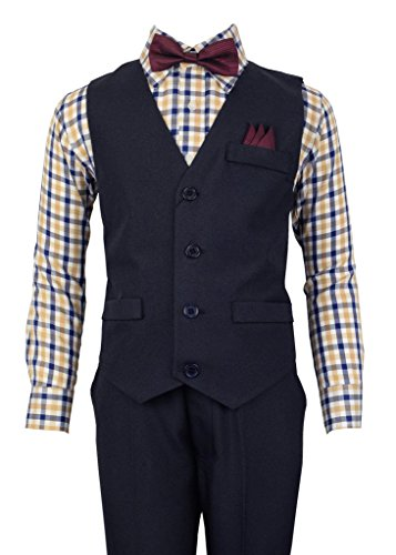 Vittorino Boys 4 Piece Holiday Suit Set with Vest Dress Shirt Tie Pants and Hankerchief,Navy/ Burgundy Bowtie,10 (Piece Three Vest)