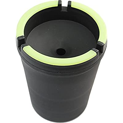 Cotton Fly Glow in The Dark Cup-Style Self-Extinguishing Cigarette Ashtray - Black (Big): Automotive
