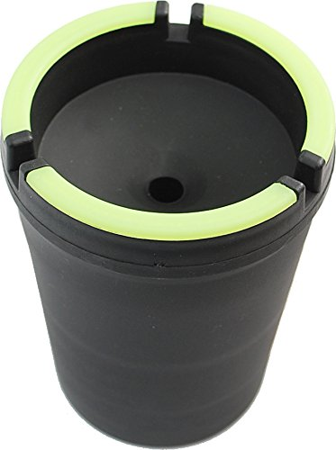 CigarExtras Stub Out Glow in The Dark Cup-Style Self-Extinguishing Cigarette Ashtray - Black - Jumbo -