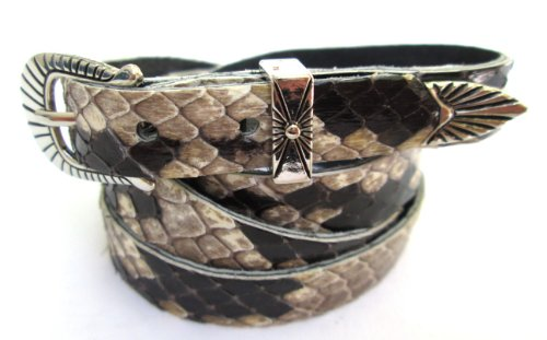 Hat Rattlesnake - Western Hatband Black & White Genuine Python Snake Skin with 3 Pc Buckle Set