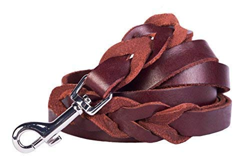 Leather Dog Leash Brown 6 foot x 5/8 Inch - Walking Training Leads Best for Small Medium Large Dogs