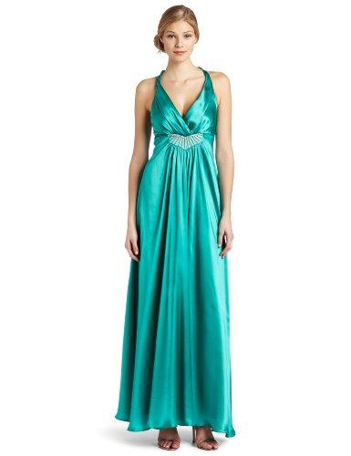 ABS Allen Schwartz Women's Criss Cross Back Gown With Embellishment, Teal Green, (Abs Silk Dresses)