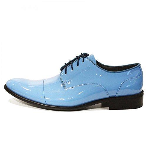 Modello Blu - Handmade Italiennes Cuir Pour Des Hommes Bleu Chaussures Oxfords - Cuir de vachette Cuir verni - Lacer