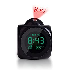 TechKen Projection Alarm Clock Voice Alarm Clock with Digital LCD Screen with Home Electronic Thermometer Time Wall Ceiling Projection, Cute Design for Living Room and Bedroom