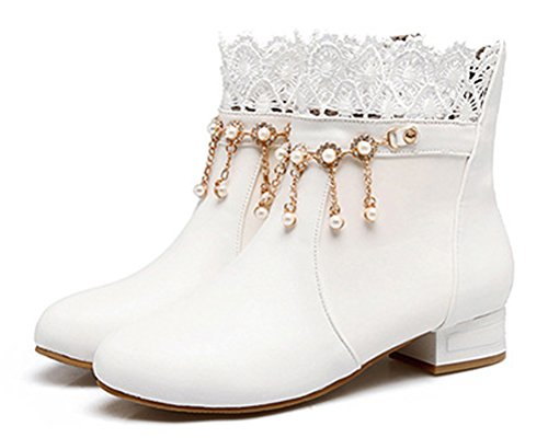 Lace White Sweet HiTime Bootie Ladies Flats Pearls Dress Tassels Casual School Girls Boots Teens Outdoor Boots ZEZqA
