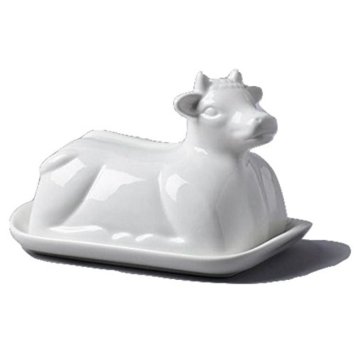 Cow Themed White Ceramic Butter Dish (19 x 14 x 7 cm) (パックof 4 )   B01N1YLZCB