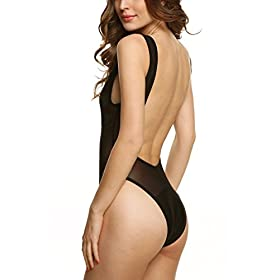 - 41P3g7yhe6L - Zeagoo One Piece Sexy Mesh Patchwork Backless Swimsuit Swimwear Summer Beachwear