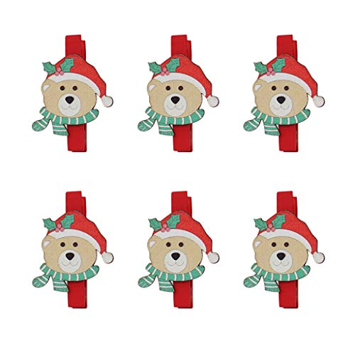 Miklan Christmas Bears Snowflake Wooden Clothespins for Game Favors Craft Wood Clip Card Paper Decor Photography Craft from Miklan