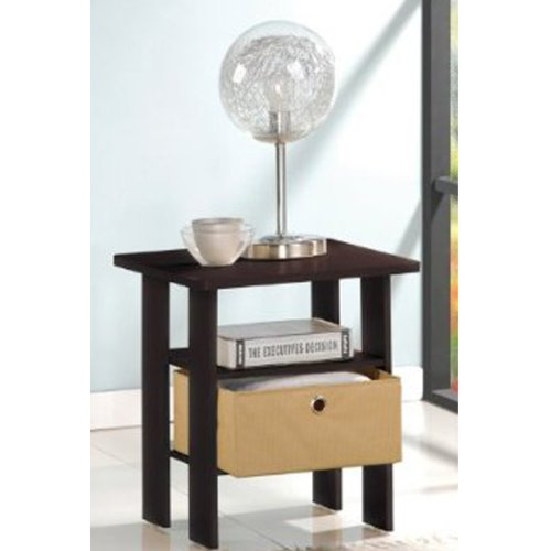 Furinno 11157EX/BR End Table Bedroom Night Stand w/Bin Drawer, Espresso/Brown (Bedside Nightstand)