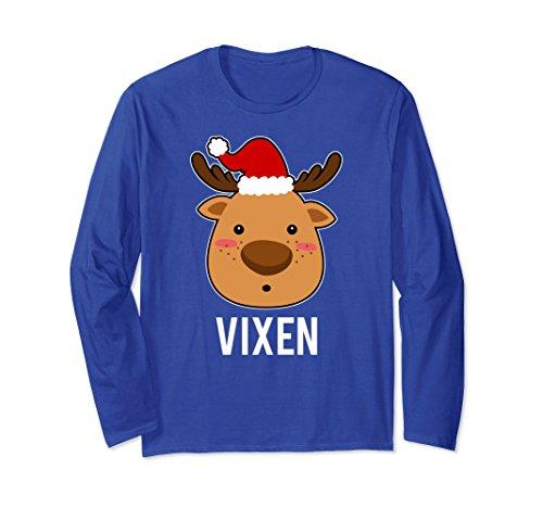 Unisex Santa Reindeer Vixen Long Sleeve Tee Xmas Group Costume Small Royal (Vixen Reindeer Costumes)