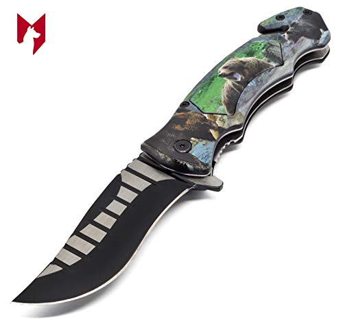 Bear Rescue Cutter (Foxfend 4.5' Closed Stainless Steel Blade Folding Tactical Pocket Knife with Seat Belt Cutter & Pocket Clip for Outdoor Tactical Survival and Everyday Carry (Bear))