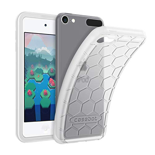 Fintie Silicone Case for iPod Touch 7 iPod Touch 6 iPod Touch 5 - (Honey Comb Series) Impact Shockproof Anti Slip Soft Protective Cover for iPod Touch 7th 6th 5th, Semi-Transparent White