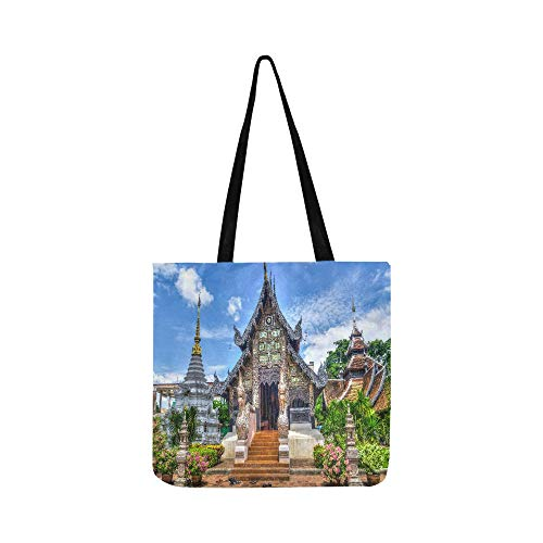 Body City Cross Disco - Chiang Mai Old City Bangkok Thailand Black And Bro Canvas Tote Handbag Shoulder Bag Crossbody Bags Purses For Men And Women Shopping Tote