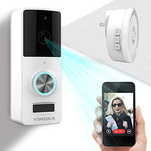 Wireless Video Doorbell, YIROKA Doorbell Camera, IP55 Waterproof HD 720P Security Camera Real-Time Video Work 3600 Hour Battery PIR Motion Detection 3000+ Video Storage, Night Light ()