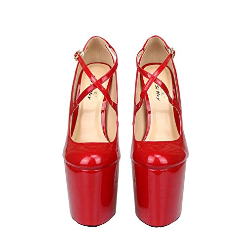 Nightclub bombas RED tacón baja único zapatos PU 44 Nuevos de Mujeres Stiletto de NVXIE Sexy boca Dressy EUR artificiales Party Wedding tobillo UK Rojo de impermeables Negro caída correa EUR41UK758 alto primavera qgwaAx