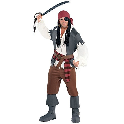 Castaway Fancy Dress Costume (Plus Size XL up to 56 Chest - Mens Adults Captain Castaway Pirate Fancy Dress Costume Caribbean Classic Accessories Full Outfit Book Week Halloween Ghost Monster by Amscan)