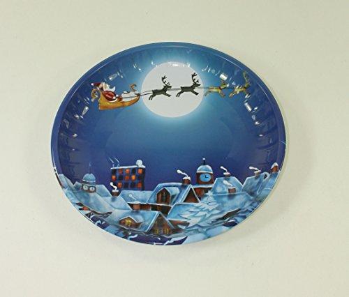 2 Stück GEBÄCKTELLER - WEIHNACHTSZEIT - 25 cm, Metall, Weihnachtsteller Gebäckschalen Knabberteller Weihnachtsmannmütze Weihnachtsfeier Santa Claus Nikolausmütze Zipfelmütze