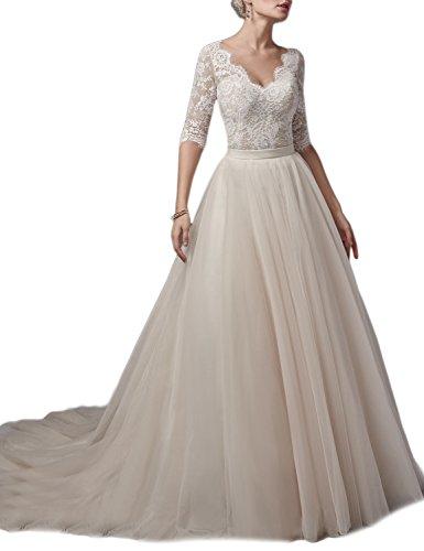 lace 1/2 sleeve wedding dress - 5