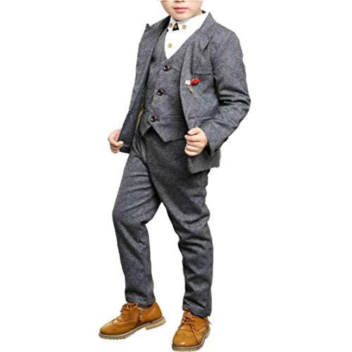 Boys Slim Fit Suit 4-Pcs Ring Bearer Suit Vest and Pants Complete Outfit Gray 6T 120 cm ()