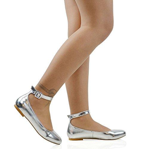 ESSEX GLAM Women's Silver Metallic Ankle Strap Bridal Ballerina Pumps 8 B(M) (Womens Metallic Bridal Shoes)