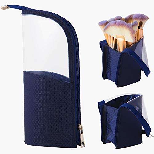 Portable Makeup Brush Holder,Travelling Cosmetics Make Up Cup Storage Organizer,Foundation Brushes Bag Case, Clear Waterproof Stand-up Small Toiletry Stationery Bag with Divider,Navy Blue
