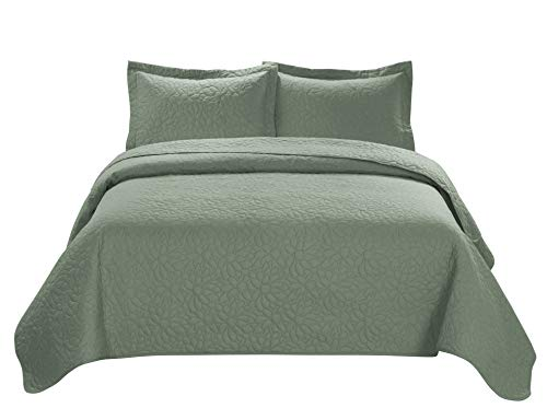 HIG 3 Piece TINOS Ultrasonic Embossed Bedspread Set-Oversized Coverlet 100x106in, 118x106in (Queen, Sage)