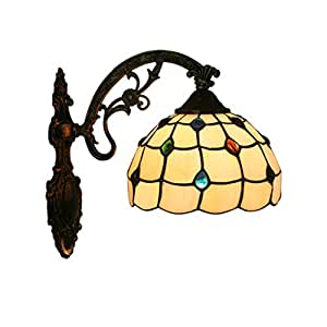 Tiffany Style Wall Lamp with Colored Crystal Beads Creative Balcony Aisle Lights Glass Shade Bedroom Bedside Lamp,110-220V,E27,(20cm*28cm)