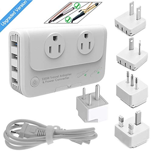 Step Down 220V to 110V Voltage Converter & International Travel Adapter Kits AULLSUMY-QC 3.0 Universal Power Adapter with US/UK/AU/EU/Italy/India Worldwide Plug 200W