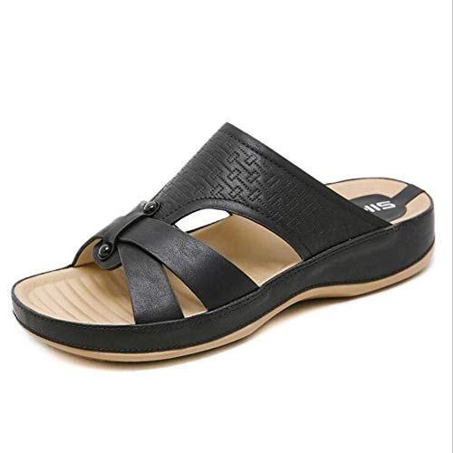 Women's Sandals for Mother's Daily Walking Mom's Home Office Slippers Rubber Sole Cushioned Footbed Arch Support Black