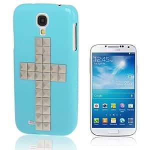 Cross Pattern Diamond Style Rivet Plastic Protective Case Cover Carcasa para Samsung Galaxy S4 i9500/(Blue)
