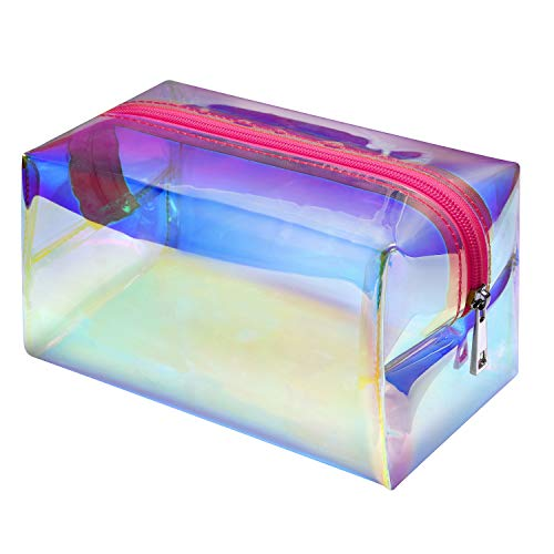 Price comparison product image Makeup Bag,  F-color Holographic Clear Travel Cosmetic Bag Large Capacity Toiletry Bag for Women,  Rose Red