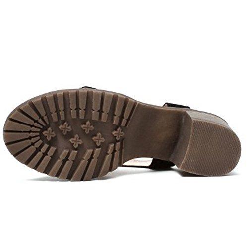 TAOFFEN Mujer Moda Punta Abierta Sandalias Tacon Medio Tacon Ancho Al Tobillo Zapatos Negro