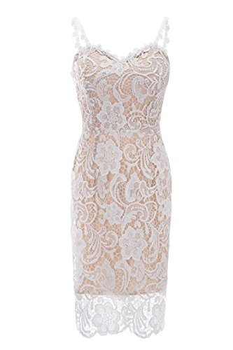 Coolred Women Mid Sling Sexy Apricot Lace Colored Dress Solid Sleeveless 77HrxSqw