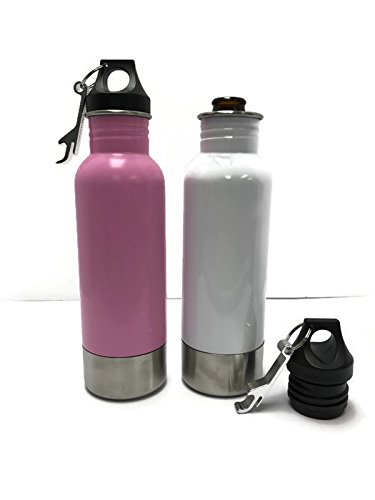 Craft Connections Stainless Steel Bottle Insulator with Opener - Pack of 2 (Pink-White) (Pink Root Beer)