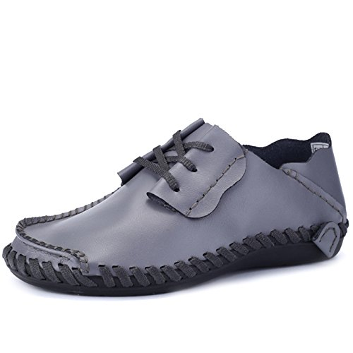 Yachting Slip Uomo Boat Flats Mens ups Grey Deck Leather Large Size On Shoes Shoe Boat Oxford Mocassini Driving da Classic Scarpe Lace xSqwOg0EZS