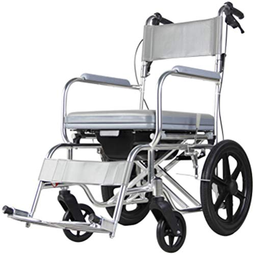 NKDK Wheelchair Manual Wheelchair Aluminum Alloy Folding Lightweight Toilet Chair Old Pregnant Woman Disabled Bathing Chair Scooter Mobile Toilet