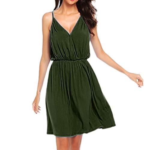 Nihewoo Plus Size Beach Dresses for Women Empire Sleeveless Dress Loose V Neck Dress Solid Party Swing Dress Summer Sundress Green