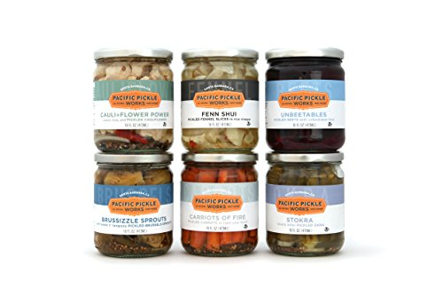 Gourmet Pickled (Specialty Variety Pickles Gift Pack (6-pack) - variety of pickled Brussels sprouts, pickled carrots, pickled beets, pickled fennel, pickled okra and pickled cauliflower)