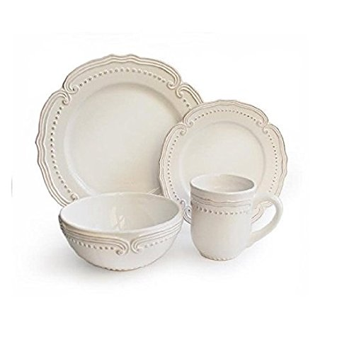 Christmas Tablescape Décor - White Victoria 16-piece earthenware round dinnerware set - Service for 4 by American Atelier