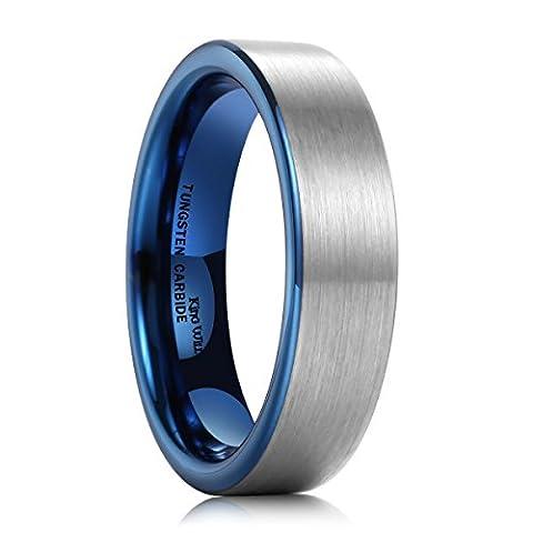 King Will DUO Women Men 6mm Flat Blue Tungsten Carbide Ring Matte Brushed Wedding Band Comfort Fit(9.5)