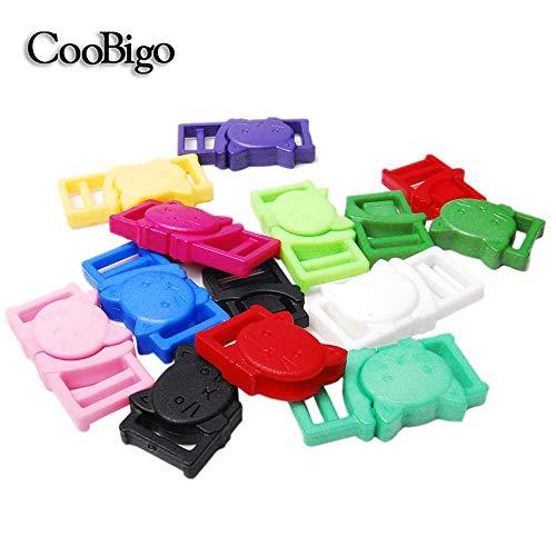 CooBigo 25pcs 3/8 (11mm) Cat-Head Plastic Safty Breakaway Buckles for Bra Cat Dog Collar Paracord FLC124(Mix-s)