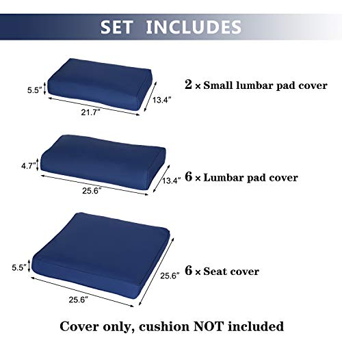 Kinbor Patio Wicker Furniture Sectional Sofa Seat Rattan Patio Seating Cushion Cover Set (Dark Blue) (Cheap Wicker Cushions For Replacement Furniture)