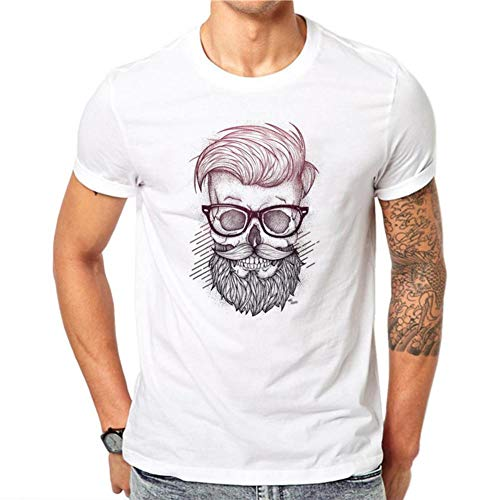 MM 2019 New Barba Men's Round Neck T-Shirt Colored Printing Casual Short Sleeve Tee White
